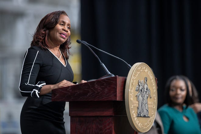 City clerk Janice Winfrey speaks during Mayor Mike Duggan's State of the City address at the Flex-N-Gate plant in Detroit, Tuesday, Feb. 25, 2020.