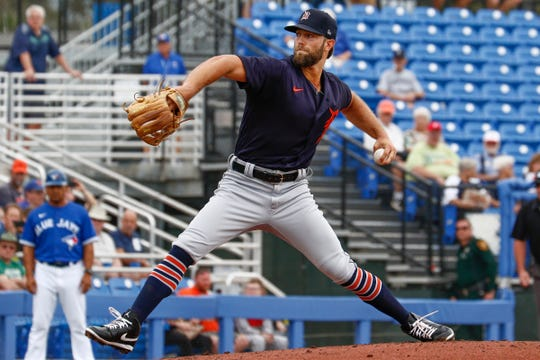Tigers pitcher Daniel Norris throws a pitch during the first inning at TD Ballpark on Wednesday, Feb. 26, 2020.