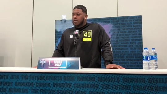 Michigan Wolverines center Cesar Ruiz speaks to the media at the NFL combine on Wednesday, Feb. 26, 2020, in Indianapolis.