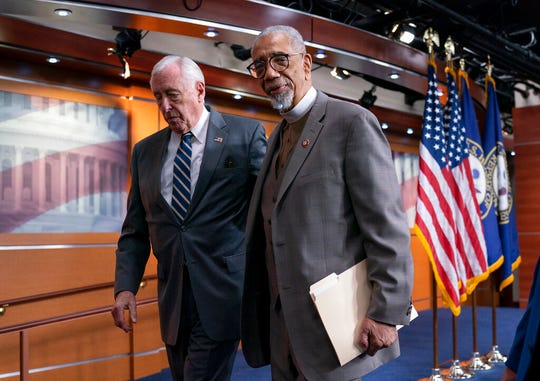 "House Majority Leader Steny Hoyer, D-Md., left, and Rep. Bobby Rush, D-Ill., leave a news conference about the ""Emmett Till Antilynching Act"" which would designate lynching as a hate crime under federal law, on Capitol Hill in Washington, Wednesday, Feb. 26, 2020."