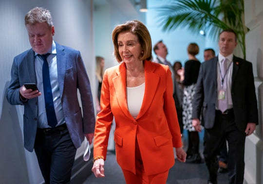 Speaker of the House Nancy Pelosi, D-Calif., arrives for a meeting with fellow Democrats on Capitol Hill in Washington, Wednesday, Feb. 26, 2020.