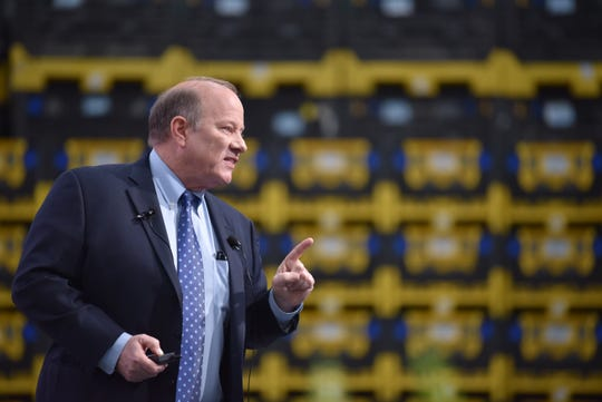Detroit Mayor Mike Duggan delivers the State of the City address at Flex-n-Gate in Detroit Tuesday evening, February 25, 2020.