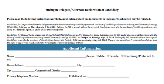 This is a portion of the application potential delegates to the Democratic National Convention must fill out in Michigan.