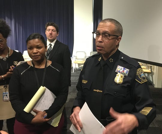 Detroit police chief James Craig addresses the media during a news conference on Wednesday, Feb. 26, 2020.