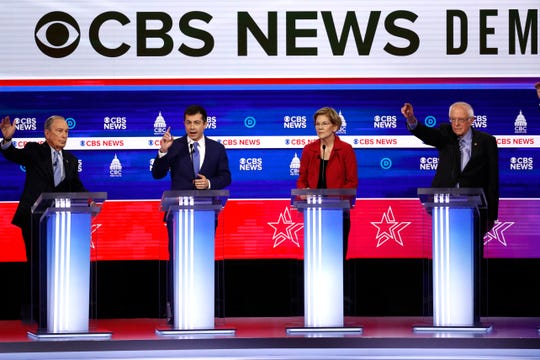 Democratic presidential candidates, from left, former New York City Mayor Mike Bloomberg, former South Bend Mayor Pete Buttigieg, Sen. Elizabeth Warren, D-Mass., and Sen. Bernie Sanders, I-Vt., participate in a Democratic presidential primary debate Tuesday, Feb. 25, 2020, in Charleston, S.C.