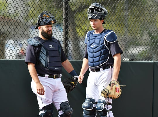 Tigers catcher Austin Romine (left), with Grayson Greiner, was brought to provide a veteran presence for Detroit's young catchers and pitching staff.