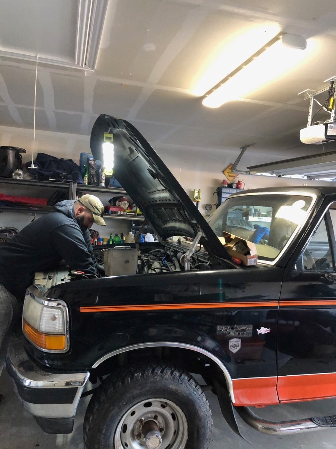 Jamison Hurley, 36, of Krum, Texas, restores his 1993 Ford Bronco Eddie Bauer edition.