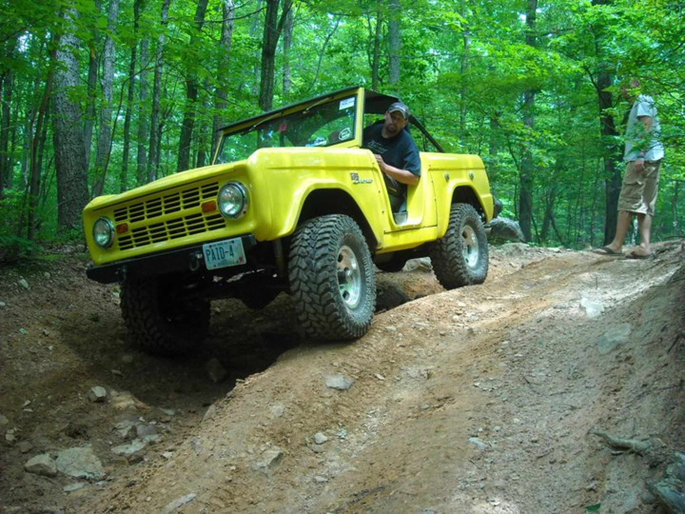 Randy Wickman, 54, of Rindge, Hampshire, takes his 1973 Ford Bronco off-roading.