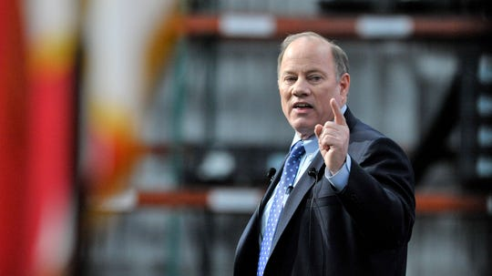 Detroit Mayor Mike Duggan gives his 2020 State of the City Address in front of hundreds at Flex-N-Gate, Tuesday night, Feb. 25, 2020.