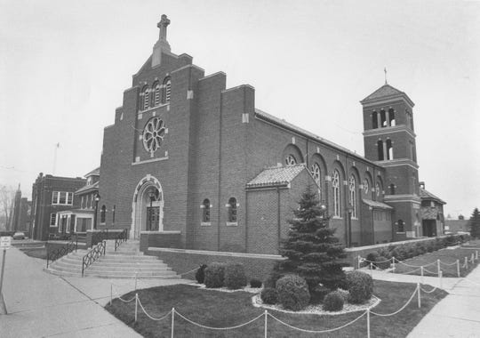 Sacred Heart Catholic Church, pictured in 1974, was originally built in 1861, according to Roseville officials. It was refurbished in 1950.