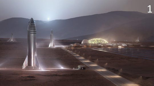 This is an artist's rendering of the SpaceX Starship on Mars.