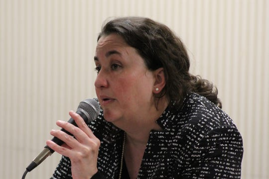 Shannon Freshour, a Democratic candidate for Ohio's U.S. House of Representatives 4th District seat, speaks Tuesday at Fremont's Birchard Public Library.