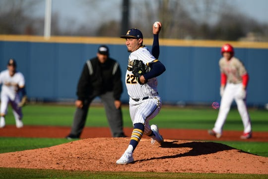 Kent State pitcher Max Rippl throws a pitch for the Golden Flashes. The SFCA alum has a perfect 0.00 ERA this season in 3.2 innings pitched.