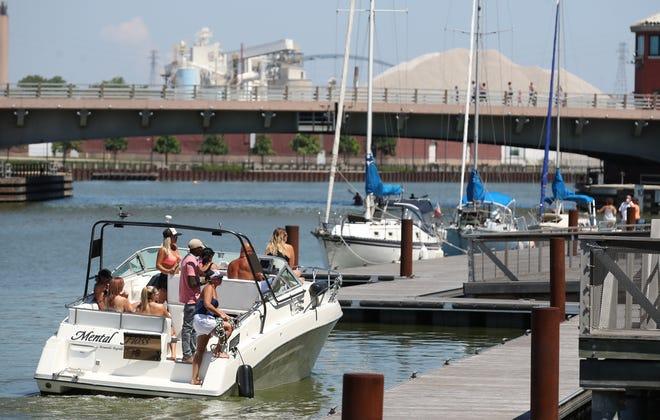 Pleasure boats dock along CityDeck in downtown Green Bay.