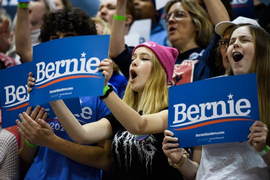 Bernie Sanders supporters listen to him speak during a rally at the Charleston Area Convention Center Wednesday, Feb. 26, 2020.
