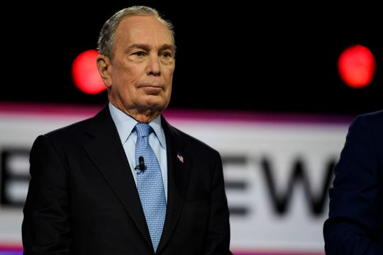 Democratic presidential candidate Mike Bloomberg during the South Carolina Democratic debate in Charleston Tuesday, Feb. 25, 2020.