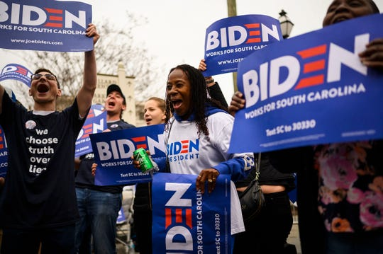 Joe Biden supporters outside of the South Carolina Democratic debate in Charleston Tuesday, Feb. 25, 2020.