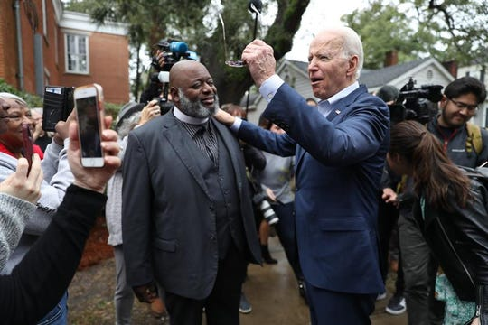 Democratic candidate Joe Biden arrives in Georgetown ahead of a community event in Georgetown, SC, Feb. 26, 2020.