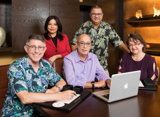 Guam Department of Labor partners with educational institutes to build the local labor pool. From left: UOG President Thomas Krise, GHRA President Mary Rhodes, Guam Department of Labor Director David Dell'Isola, GCA Trades Academy Education Director Bert Johnston, and GCC President Mary Okada.