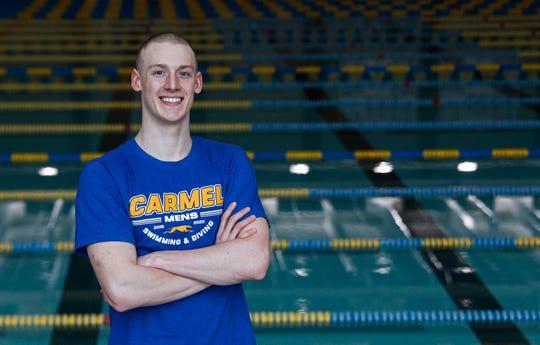 Carmel Swimmers Wyatt Davis poses for IndyStar at Carmel High School, Carmel, Ind., Wednesday, Feb. 26, 2020.