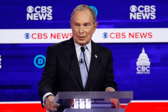 Democratic presidential candidate former New York City Mayor Mike Bloomberg speaks during a Democratic presidential primary debate at the Gaillard Center in Charleston, S.C.
