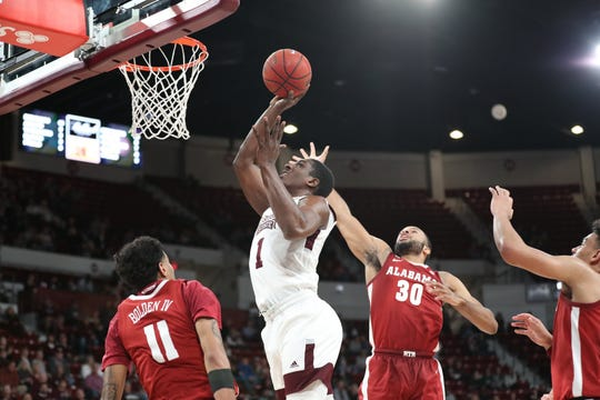 Mississippi State sophomore forward Reggie Perry goes up for a shot against Alabama on Tuesday.