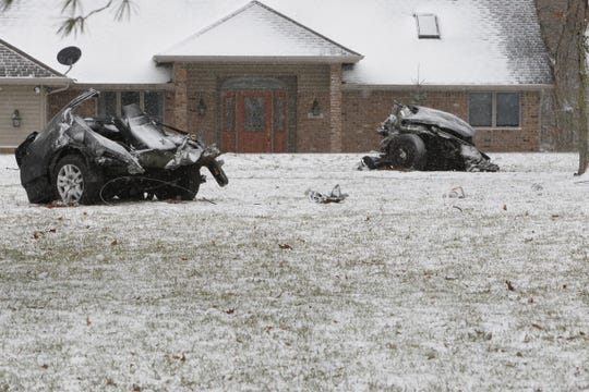 The force of impact with a tree on Tippecanoe County Road 100 N about 8:15 a.m. Wednesday, Feb. 26, 2020, split this car into three pieces. The crash killed two Harrison High School boys and critically injured a third.