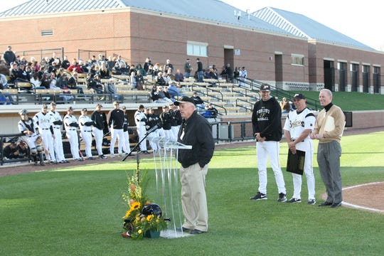 Former Purdue baseball coach Dave Alexander speaks in 2012 at the opening of Alexander Field. Alexander died Wednesday