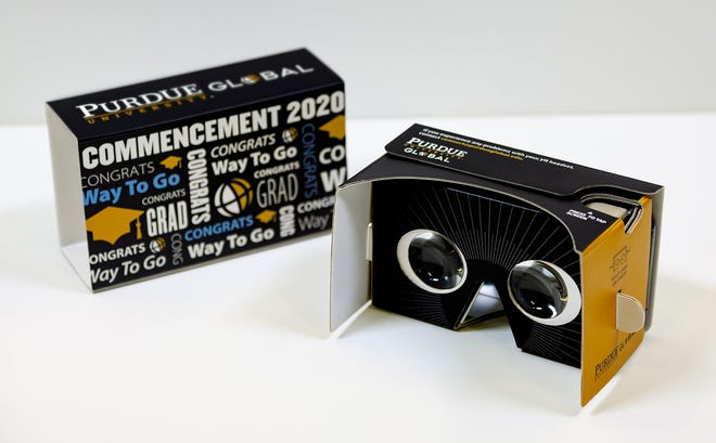 Seventy-five Purdue Global graduates will wear these virtual reality headsets to take part in commencement ceremonies in Los Angeles on Thursday, Feb. 27, 2020, in a pilot project being tested by the online university and a lab at Purdue University.
