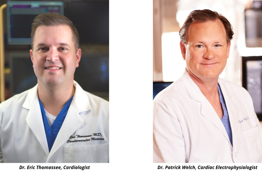 Dr. Eric Thomassee, Cardiologist, and Dr. Patrick Welch, Cardiac Electrophysiologist.