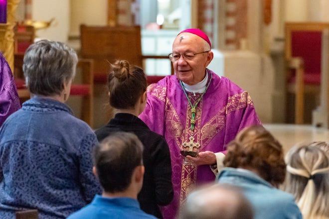 Bishop J. Douglas Deshotel celebrates Ash Wednesday mass at The Cathedral of Saint John the Evangelist  in Lafayette, LA. Wednesday, Feb. 26, 2020.