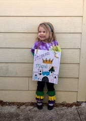 """Save a few Mardi Gras beads for kids' costumes and projects when the holiday rolls around again next year. Here Marie Guidry, 3, is """"Princess Mardi Gras"""" for her pre-K class's walking parade."""
