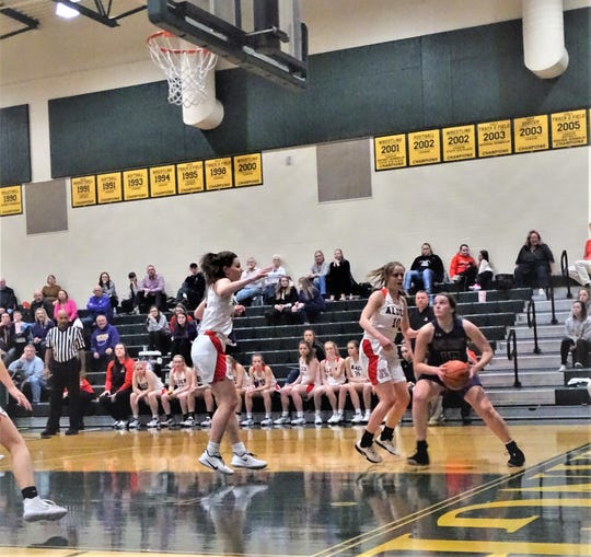 Bloom-Carroll's Carly Bryant takes the ball to the basket during the Bulldogs' 3-21 Division II tournament loss against top-seeded Jonathan Alder Tuesday night.