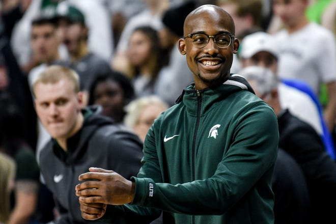 Michigan State's Joshua Langford smiles before the Spartans game against Iowa on Tuesday, Feb. 25, 2020, at the Breslin Center in East Lansing.