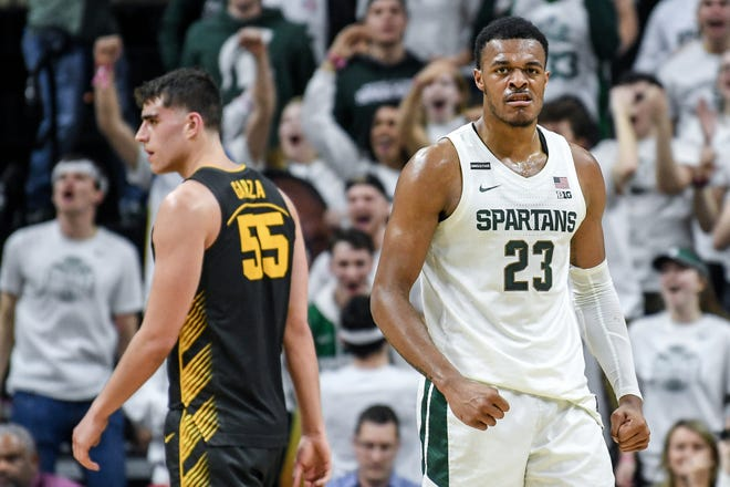 Michigan State's Xavier Tillman celebrates during the second half on Tuesday, Feb. 25, 2020, at the  Breslin Center in East Lansing.