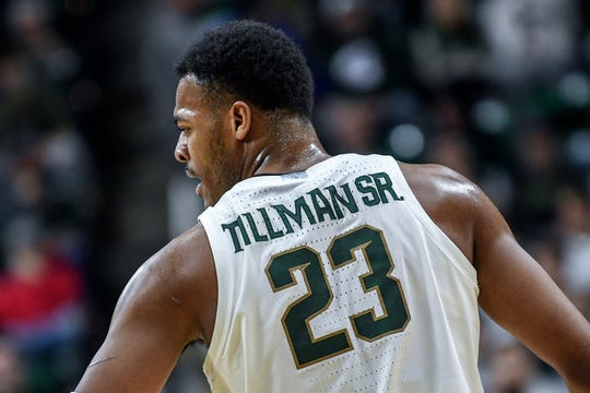 Michigan State's Xavier Tillman's jersey has the added ÒseniorÓ during game against Iowa on Tuesday, Feb. 25, 2020, at the  Breslin Center in East Lansing. Tillman and his wife, Tamia, welcomed Xavier Jr. at 12:38 a.m. on Feb. 1.