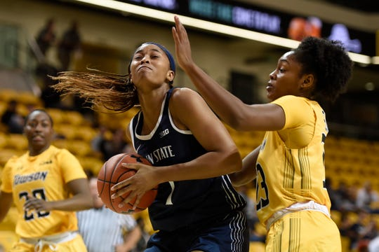 Towson's Shavonne Smith, right, defends against Penn State's Alisia Smith during an NCAA basketball game on Tuesday, Nov. 5, 2019 in Towson, Md. (AP Photo/Gail Burton)