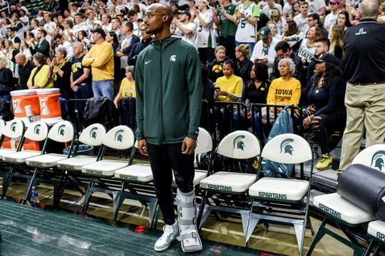 Michigan State's Joshua Langford watches as the Spartans warm up before the game against Iowa on Tuesday, Feb. 25, 2020, at the  Breslin Center in East Lansing.