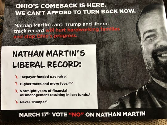 The mailer attacks Martin's record while on Shelby City Council.