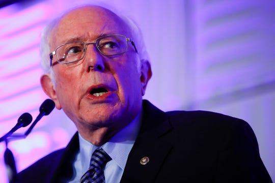 Democratic presidential candidate Sen. Bernie Sanders speaks during the First in the South Dinner Monday in Charleston, S.C. (AP Photo/Matt Rourke)