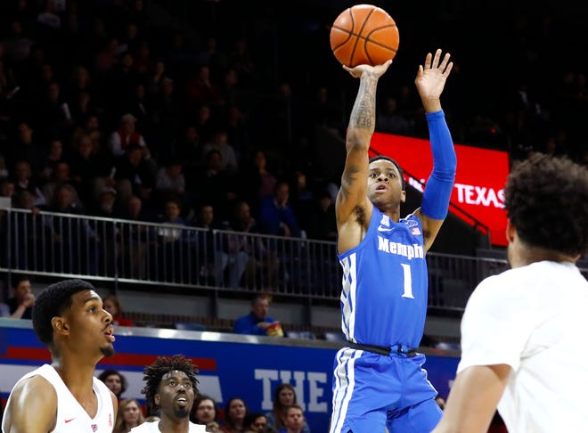 Memphis Tigers guard Tyler Harris shoots the ball from the outside against the SMU Mustangs during their game at the Moody Coliseum on Tuesday, Feb. 25, 2020.