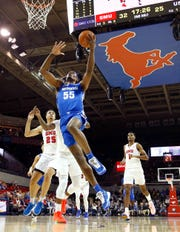 Memphis Tigers forward Precious Achiuwa lays the ball up against the SMU Mustangs during their game at the Moody Coliseum on Tuesday, Feb. 25, 2020.