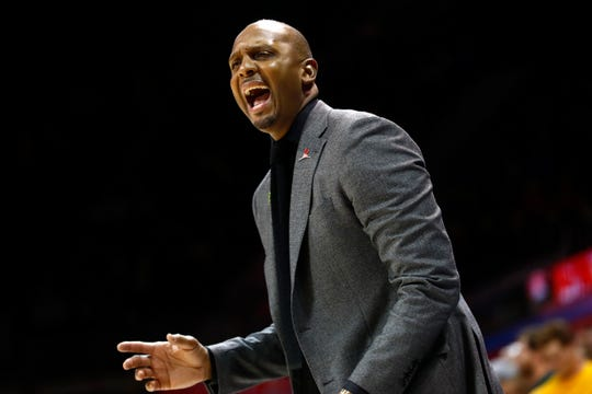 Memphis Tigers Head Coach Penny Hardaway yells out to his team from the sidelines during their 58-53 loss to the SMU Mustangs at the Moody Coliseum on Tuesday, Feb. 25, 2020.