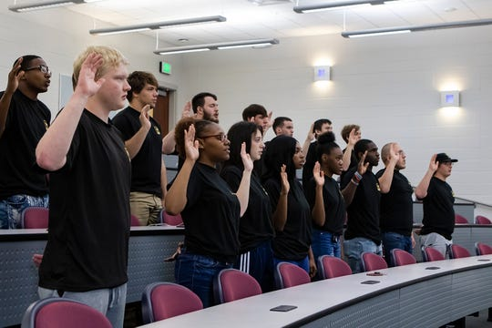 21 area high school students took their oath of enlistment administered by Col. Andrew Morgan, a NASA astronaut and U.S. Army Soldier aboard the International Space Station,  at West Ouachita High School in West Monroe, La. on Feb. 26.