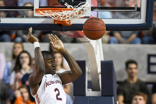 Auburn forward Jaylin Williams (2) dunks against Ole Miss on Tuesday, Feb. 25, 2020, in Auburn, Ala.