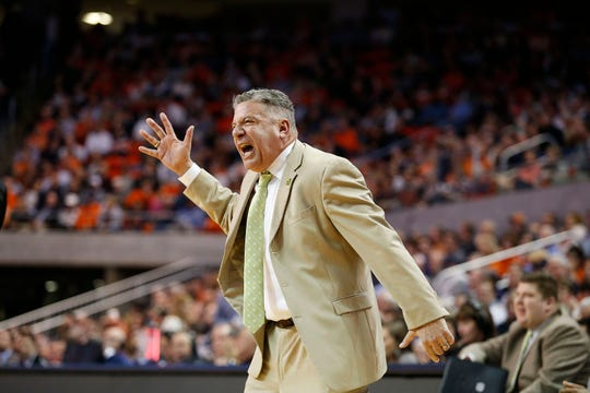Feb 25, 2020; Auburn, Alabama, USA;  Auburn Tigers head coach Bruce Pearl reacts to a play during the first half against the Ole Miss Rebels at Auburn Arena. Mandatory Credit: John Reed-USA TODAY Sports