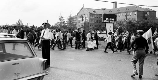 The Selma to Montgomery March arrives at the City of St. Jude in Montgomery on March 24, 1965.