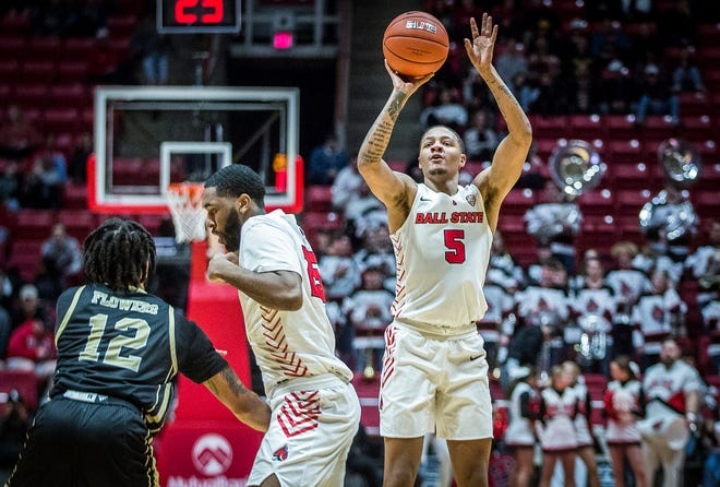 Ball State's Ishmael El-Amin shoots a three-pointer against Western Michigan during their game at Worthen Arena Tuesday, Feb. 25, 2020.