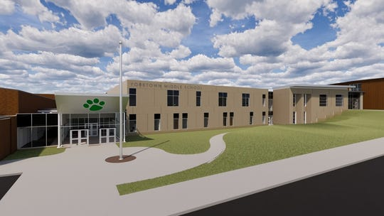 A rendering of the middle school renovations. The central portion of the building will go from a three-story to a two-story structure.