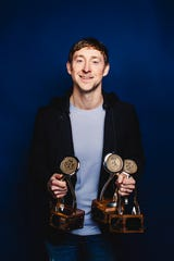 Ashley Gorley, who had a hand in nine No. 1 songs in 12 months, took home three CMA Triple Play trophies.